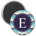 Chevron Monogram Navy Blue Cream Fridge Magnets