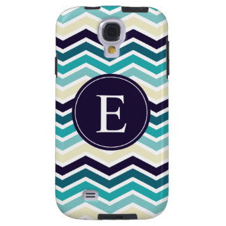 Chevron Monogram Navy Blue Cream Galaxy S4 Case