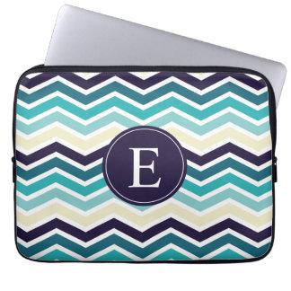 Chevron Monogram Navy Blue Cream Laptop Sleeve