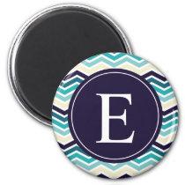 Chevron Monogram Navy Blue Cream Magnet
