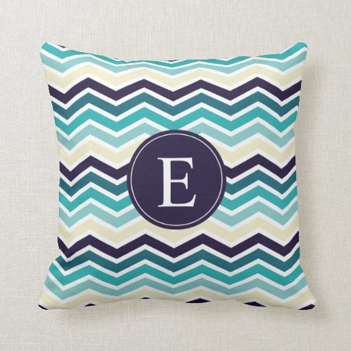Blue And Cream Decorative Pillows : Chevron Monogram Navy Blue Cream Throw Pillow Zazzle