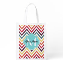 Chevron monogram, personalized N1 Reusable Grocery Bag
