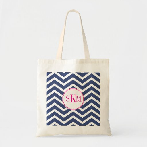 Chevron Monogram Personalized Tote Canvas Bags