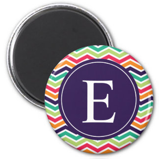 Chevron Monogram Purple Green Pink Orange Magnet