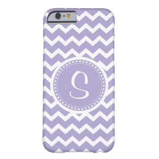 Chevron Monogram Retro Purple and White Barely There iPhone 6 Case