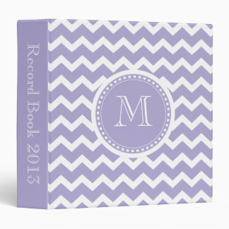 Chevron Monogram Retro Purple and White Binder