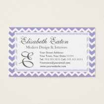 Chevron Monogram Retro Purple and White Business Card