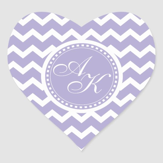 Chevron Monogram Retro Purple and White Heart Sticker