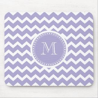 Chevron Monogram Retro Purple and White Mouse Pad