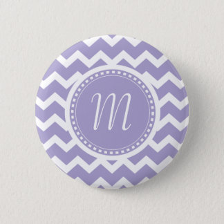 Chevron Monogram Retro Purple and White Pinback Button