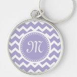 Chevron Monogram Retro Purple and White Silver-Colored Round Keychain