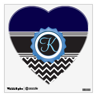 Chevron Monogram Sapphire Blue & Black Wall Sticker