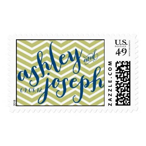 Chevron Monogrammed Wedding Stamp