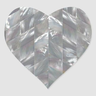 Chevron Mother of Pearl Heart Sticker