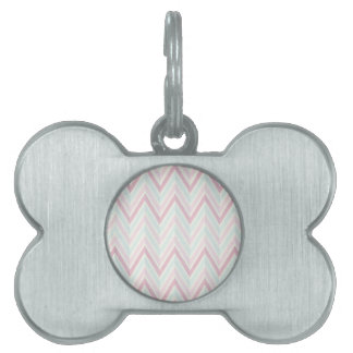 Chevron, multi, color, pasteles, zigzag, femenino placa de nombre de mascota