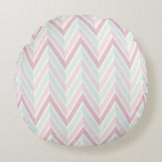 Chevron, multi, color, pastels, zig zag, girly round pillow