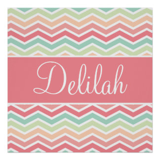 Chevron Name Pastel Pink Green Posters