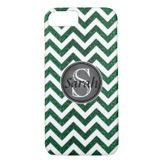 Chevron Nameplate - Kelly Green Glitter iPhone 7 Case