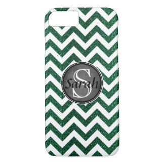 Chevron Nameplate - Kelly Green Glitter iPhone 8/7 Case