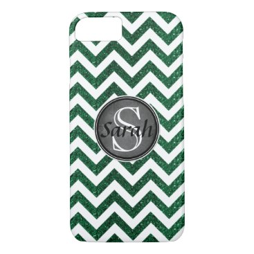 MakeItAboutYou Chevron Nameplate - Kelly Green Glitter iPhone 8/7 Case