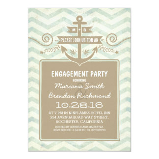 "Chevron nautical anchor engagement party invites 5"" x 7"" invitation card"