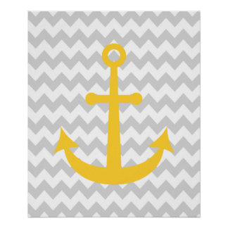 Chevron Nautical Anchor Print