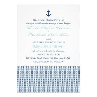 Chevron náutico agita la invitación del boda
