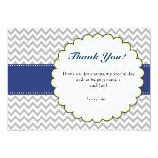Chevron Navy Blue Baby Shower Thank You Card