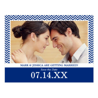 Chevron Navy Blue Photo Save The Date Post Card