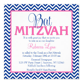 Chevron Navy Blue Pink Bat Mitzvah Invitation