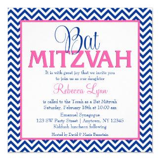Chevron Navy Blue Pink Bat Mitzvah Invitation