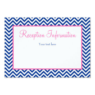 Chevron Navy Blue Pink Bat Mitzvah Reception Card