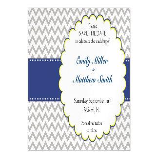 Chevron Navy Blue Wedding Save The Date 5x7 Invite
