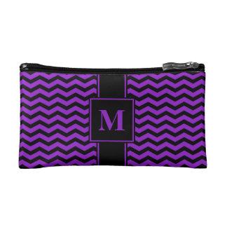 Chevron negro/púrpura del monograma