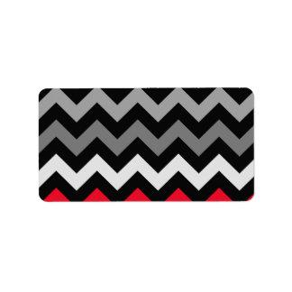 Chevron negro y blanco con la raya roja etiqueta de dirección