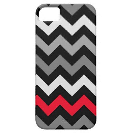 Chevron negro y blanco con la raya roja iPhone 5 Case-Mate cobertura
