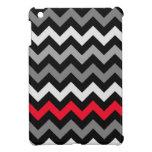 Chevron negro y blanco con la raya roja iPad mini fundas