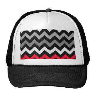 Chevron negro y blanco con la raya roja gorra