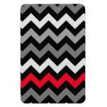 Chevron negro y blanco con la raya roja imán rectangular