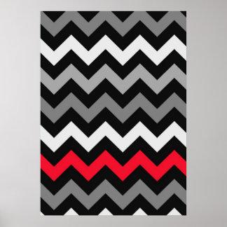 Chevron negro y blanco con la raya roja póster