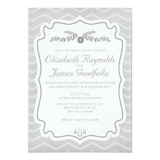 """Chevron negro y blanco raya invitaciones del boda invitación 5"""" x 7"""""""
