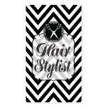 Chevron negro y blanco Scissors al estilista Tarjeta De Visita