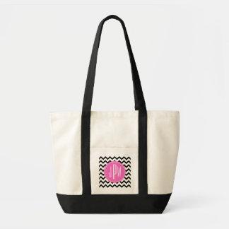 Chevron negro y monograma rosado bolsa tela impulso