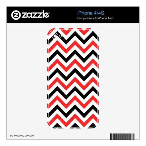 Chevron negro y rojo skin para el iPhone 4