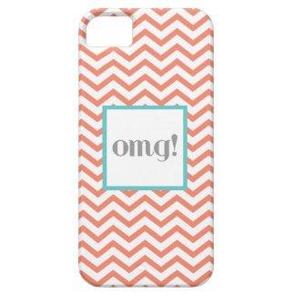 """Chevron """"OMG!"""" in Gray Coral and Turquoise iPhone SE/5/5s Case"""