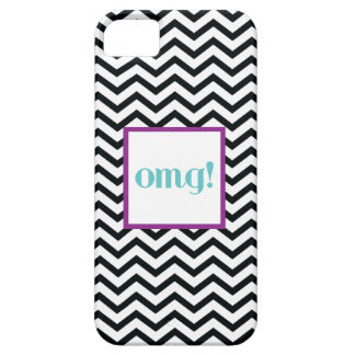 "Chevron ""OMG!"" in Gray Purple and Turquoise iPhone SE/5/5s Case"