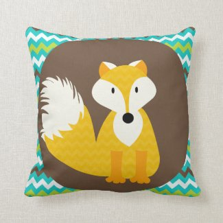 Chevron Orange Fox on Brown Throw Pillow