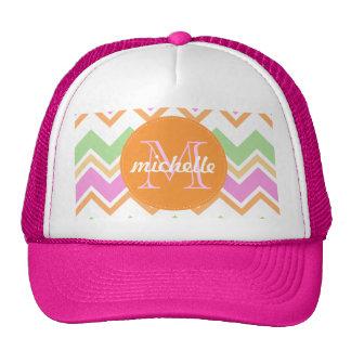 Chevron Orange Pink Green Monogram Circle Stitch Trucker Hat