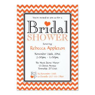 """Chevron Orange & White Bridal Shower Invitation 5"""" X 7"""" Invitation Card"""