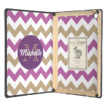 Chevron Orchid Champagne Monogram Circle Stitches Cover For iPad Air